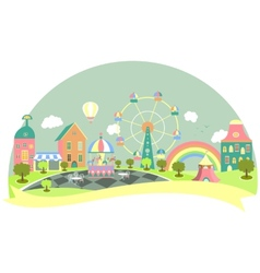 Amusement park in flat style vector image