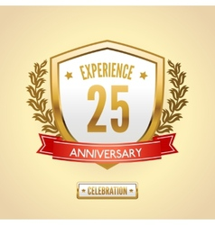 Anniversary label shield vector image