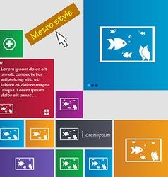 Aquarium Fish in water icon sign Metro style vector