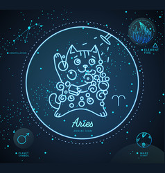 Astrology neon aries zodiac sign funny cat vector
