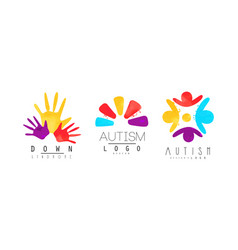 autism and down syndrome awareness logo collection vector image