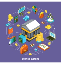 Banking Systems Isometric Round Composition vector image