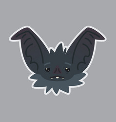 Bat sticker emoji of cute halloween vector