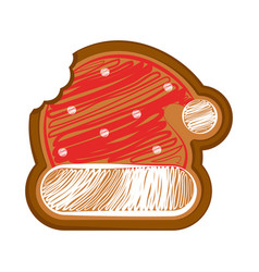 Bitten christmas hat gingerbread vector