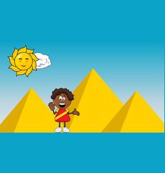 black african smile boy cartoon design on pyramid vector image