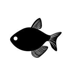 Black silhouette graphic with fish vector