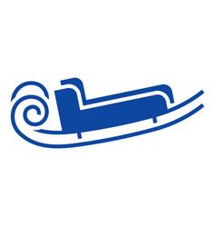 blue santa sleigh icon simple style vector image