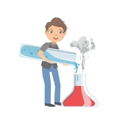 Boy in school uniform with giant test tubes vector