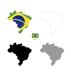 Brazil country black silhouette and with flag on vector