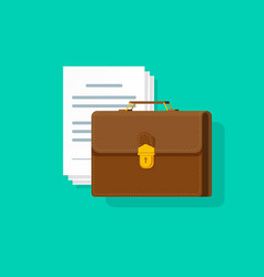 Briefcase near lots of paper documents vector