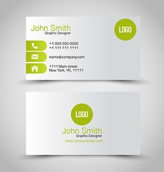 Business card set template Green and silver grey vector