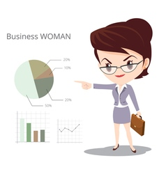 Business woman character skirt suit Glasses vector
