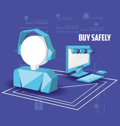 Buy safely online with desktop vector