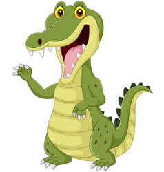cartoon funny crocodile isolated vector image