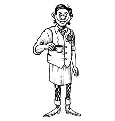 Cartoon image of barista serving coffee vector