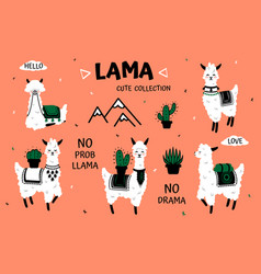 Cartoon lama cute white alpaca and cactus clipart vector
