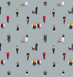 cartoon people pattern vector image