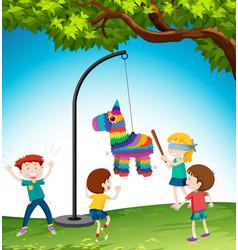Children play pinata donkey vector