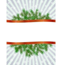 christmas with fir branch pattern frame vector image