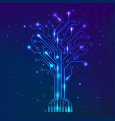circuit tree on blue background science vector image