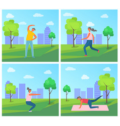 City park exercises set people active lifestyle vector