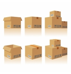 Closed open recycle brown carton delivery vector image