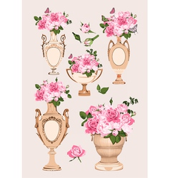 collection vases roses on pink background vector image