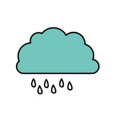 Color cloud rainning icon vector