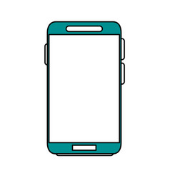 Color silhouette image blue contour smartphone vector