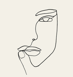 Continuous line drawing woman face with hand vector