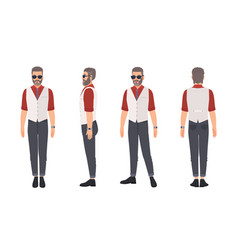 Cool grey haired bearded man wearing waistcoat and vector