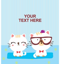 cute cat couple vector image