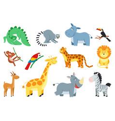 cute jungle animal cartoon african animals vector image