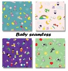 Cute Newborn seamless patterns vector