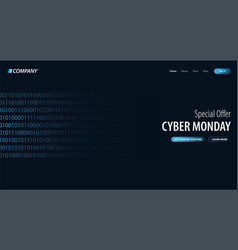 cyber monday sale banner with binary code vector image