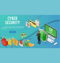 cyber security isometric banner vector image