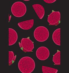 dragon fruit slice seamless pattern on black vector image