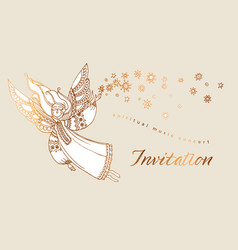 Elegant rose gold decorative girl angel vector