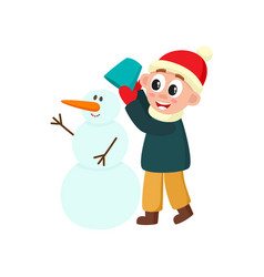 flat boy makes snowman smiling isolated vector image