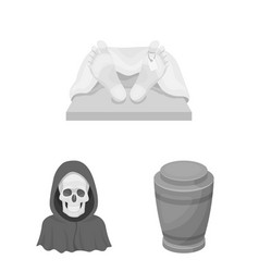 Funeral ceremony monochrome icons in set vector