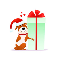 funny cartoon dog in santa hat hugs xmas gift vector image