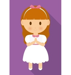 girl kid cartoon white dress icon graphic vector image