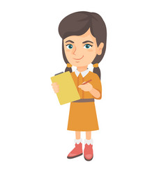 Girl writing on the paper attached to a clipboard vector