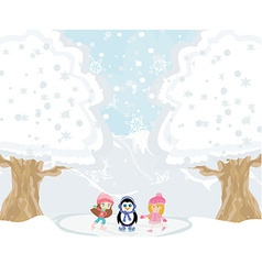 Girls on skates and sweet penguin vector image