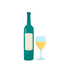 green bottle of wine and glass delicious vector image