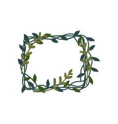 green leaves frame natural decorative element can vector image