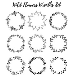 hand drawn wreath set of design leaves vector image