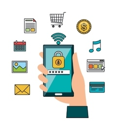 hand hold smartphone online security design vector image
