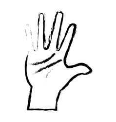 Hand man palm showing five finger vector