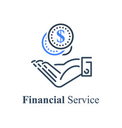 Hand taking coins give money donation concept vector